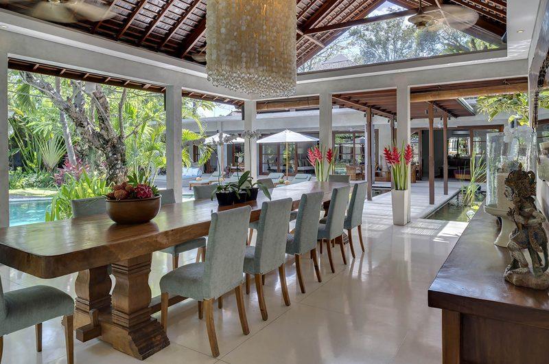 Lataliana Villas Dining Area with Pool View, Seminyak | 7 Bedroom Villas Bali