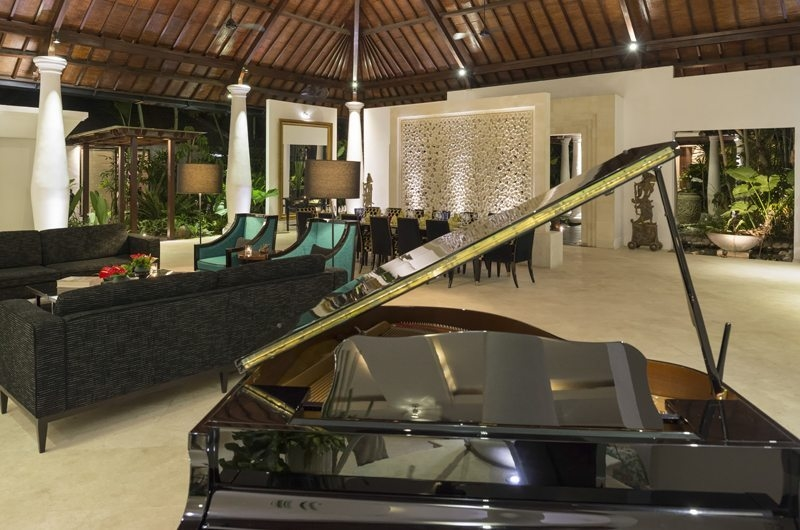 Uma Wana Prasta Living Area with Piano, Canggu | 7 Bedroom Villas Bali