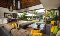 Villa Anam Living and Dining Area with Pool View, Seminyak | 7 Bedroom Villas Bali