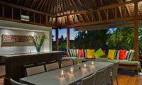 Bendega Villas Dining at Night, Canggu | 7 Bedroom Villas Bali