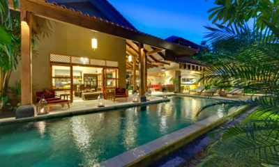 Villa Kinaree Estate Pool at Night, Seminyak | 7 Bedroom Villas Bali