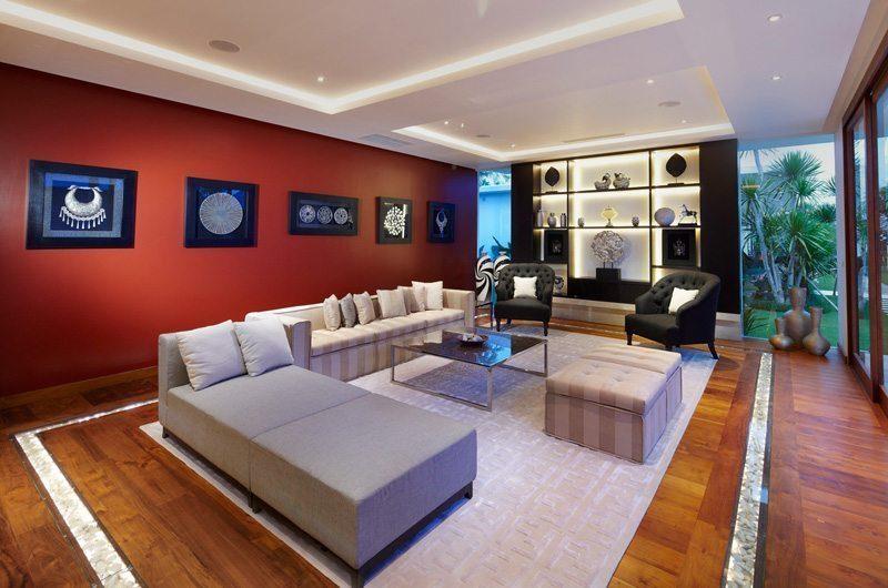 Villa Malaathina Living Area with Wooden Floor, Umalas | 7 Bedroom Villas Bali