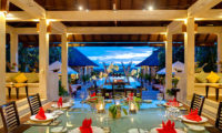 Villa Mandalay Dining at Night, Seseh | 7 Bedroom Villas Bali