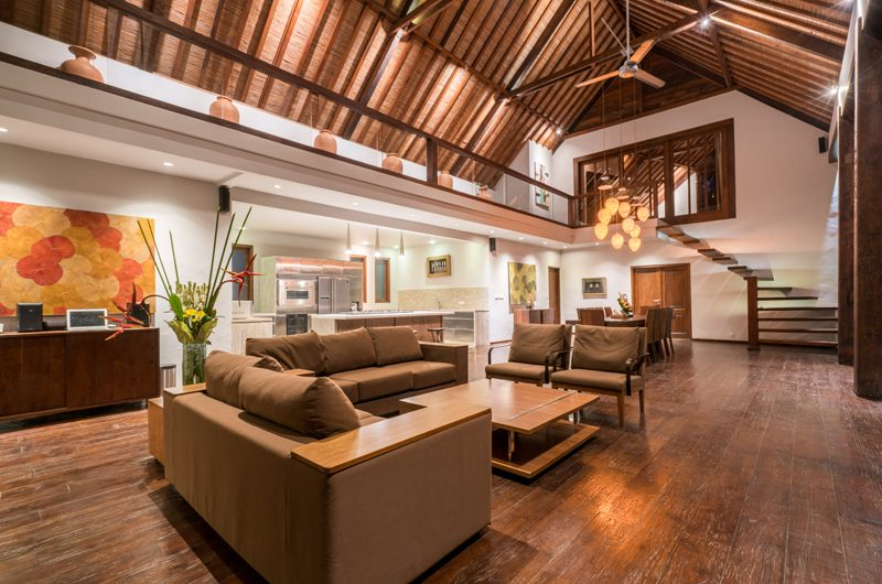 Villa Tirtadari Living Area with Up Stairs, Umalas | 7 Bedroom Villas Bali