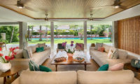 Villa Zambala Living Area with Pool View, Canggu | 7 Bedroom Villas Bali