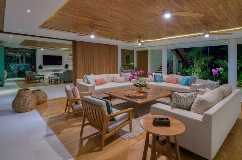 Villa Zambala Living Area attached with TV Room, Canggu | 7 Bedroom Villas Bali