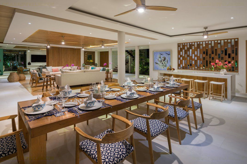 Villa Zambala Living and Dining Area, Canggu | 7 Bedroom Villas Bali