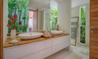 Villa Zambala His and Hers Bathroom with Mirror, Canggu | 7 Bedroom Villas Bali
